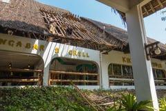 Makuti thatched roof repair Kenyan beach resort Stock Images
