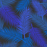 Palm leaf tropical exotic seamless pattern in blue Royalty Free Stock Photos