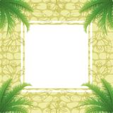 Palm leaves and abstract pattern Stock Photo