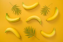Palm leaves and bananas on yellow background royalty free stock photos