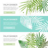 Palm leaves banner template. Creative trendy banners with place for your text. Vector concept illustration. Horizontal banners set Royalty Free Stock Images
