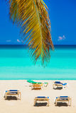 Palm leaves and beds on Varadero beach in Cuba. Beach beds on an idyllic tropical beach in Cuba with coconut palm leaves on the foreground Royalty Free Stock Photography
