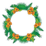 Palm leaves and flowers circle frame Royalty Free Stock Photos