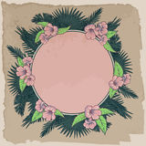 Palm leaves and flowers circle vintage frame Stock Photography