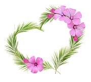 Palm leaves heart shape arrangement with pink wild flowers. Isolated on white background. Flat lay. Top view Royalty Free Stock Photo