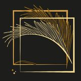 Palm leaves and luxurious frame in gold color. Tropical flower illustration on black background. stock illustration