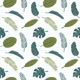 Palm leaves seamless pattern royalty free illustration