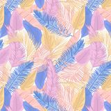 Palm leaves seamless pattern. Tropical leaves seamless background. Summer beach pattern stock illustration