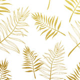 Tropical Golden Palm Leaves Seamless Background Stock Vector - Image