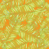 Palm leaves. Seamless vector background. Floral. Royalty Free Stock Photo