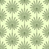 Palm leaves seamless vector pattern. Vintage style and colors (yellow-green). Stock Images