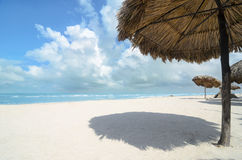 Palm Leaves shadow umbrellas at white sandy beach Royalty Free Stock Images