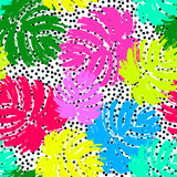 Palm leaves summer funky seamless pattern. 80s 90s pop art memphis style.Hand drawn ink artistic trendy sport fashion background. Expressive ornament for Stock Photo