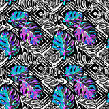 Palm leaves summer funky seamless pattern. 80s 90s pop art memphis style.Hand drawn ink artistic trendy sport fashion background. Expressive ornament for Royalty Free Stock Image