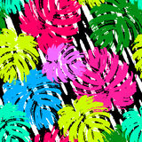 Palm leaves summer funky seamless pattern. 80s 90s pop art memphis style.Hand drawn ink artistic trendy sport fashion background. Expressive ornament for Stock Images