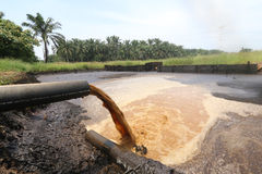 Palm Oil Mill Effluent (POME) wastewater being discharged - Series 2 Stock Photo