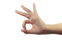 Palm okey fingers sign show Stock Photography