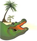 palm-omzoomde alligator Royalty-vrije Illustratie