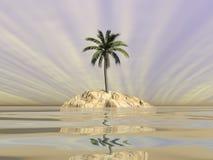 Palm op een eiland in midden van de 3D oceaan - geef terug Royalty-vrije Stock Foto