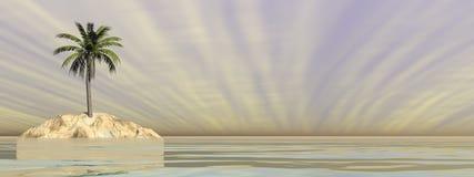 Palm op een eiland in midden van de 3D oceaan - geef terug Stock Fotografie