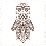 Palm. Ornament card with hamsa. Geometric circle element made in vector stock image
