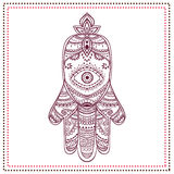 Palm. Ornament card with hamsa. Geometric circle element made in vector stock images