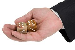Palm with pair of dice Stock Image