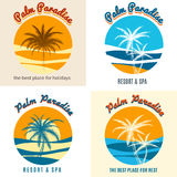Palm paradise logo set. With summer beach wave and palm tree vector illustration Royalty Free Stock Photos