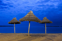 Palm parasols op maanlichtstrand Stock Foto's
