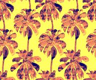 Palm Pattern. Exotic Watercolor Seamless Pattern vector illustration