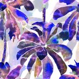 Palm Pattern. Exotic Watercolor Seamless Pattern. Hawaiian Tropical Print. Swimwear Design With Palm Trees. Exotic Leaves Rapport. Watercolor Botanical Stock Photos