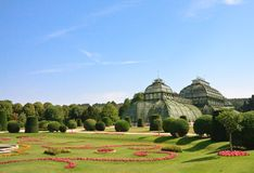Palm Pavilion And Floral Lawn Schonbrunn, Vienna, Royalty Free Stock Photo