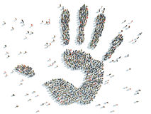 Palm with people. Illustration of palm with people Stock Photos