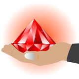 Palm of the person with enormous jewels. Stretching hand with big red jewels vector illustration