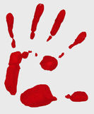 Palm Print. A bright red colored print of left hand palm Royalty Free Stock Images