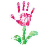 Palm print flower. Of hand of child as logo or icon sign, cute skin texture pattern, vector grunge illustration. Element for design Royalty Free Stock Photos