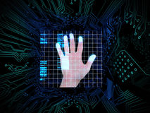 Palm print in the middle of circuit board Royalty Free Stock Photos