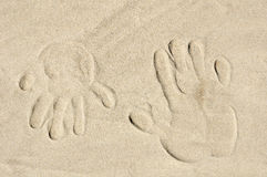 Palm print on sand Stock Image