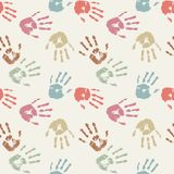 Palm prints in pastel colors. Seamless background Stock Photo