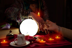 Palm reading session from fortune teller Royalty Free Stock Images