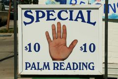 Palm Reading Sign. Palm Reading for $10 Sign stock image
