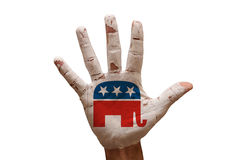 Palm republicans. Man hand palm painted united states republican party Royalty Free Stock Photo