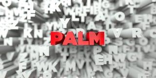 PALM - Rode tekst op typografieachtergrond - 3D teruggegeven royalty vrij voorraadbeeld Royalty-vrije Stock Foto