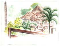 Palm roof hut in green garden by watercolors. Rustic house on tropical island artwork. Summer travel sketch. Tropical garden and village house. Holiday resort Royalty Free Stock Photos