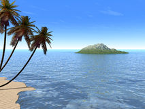 Palm_sand_island ilustração royalty free