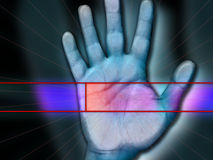 Palm Scanning. Biometric Palm scanning for security network  access Stock Images