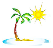 Palm, sea and sun. holiday illustration. Palm, sea and sun. travel, tourism, vacation - tropical Stock Illustration