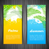 Palm silhouettes card Stock Image
