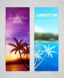 Palm silhouettes cards Stock Photography