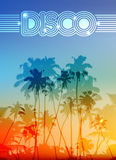 Palm silhouettes summer disco background. Palm silhouettes vector summer sunset disco background Stock Photo